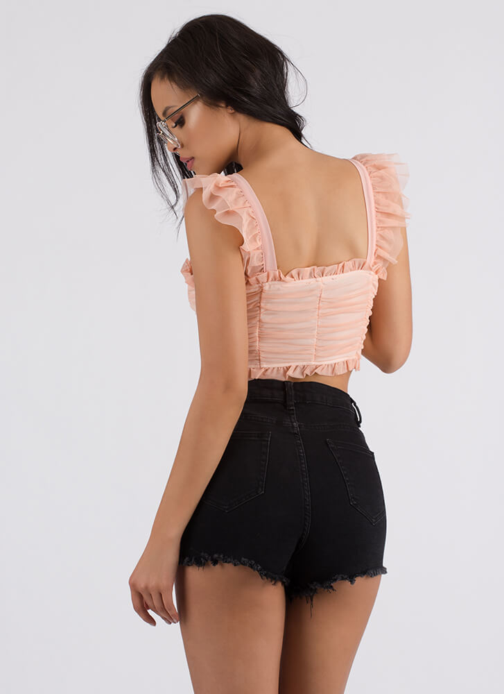 Sweetie Lace-Up Ruffled Mesh Corset Top PINK