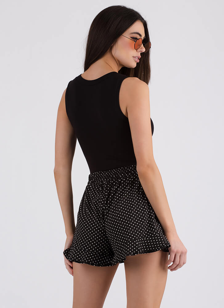 In A Spot Ruffled Polka Dot Shorts BLACK