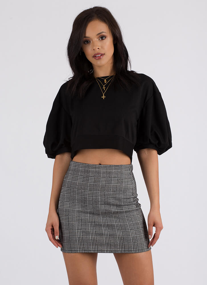 Pull It Off Puffy Sleeve Crop Top BLACK