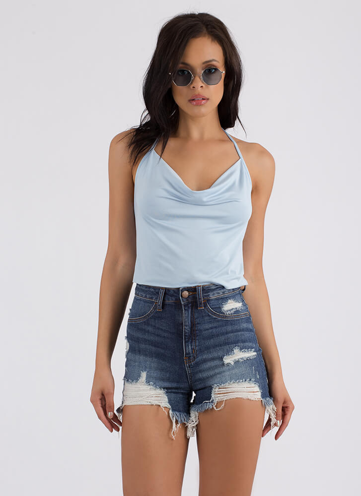 Cool Breeze Draped Cowl Halter Top BABYBLUE