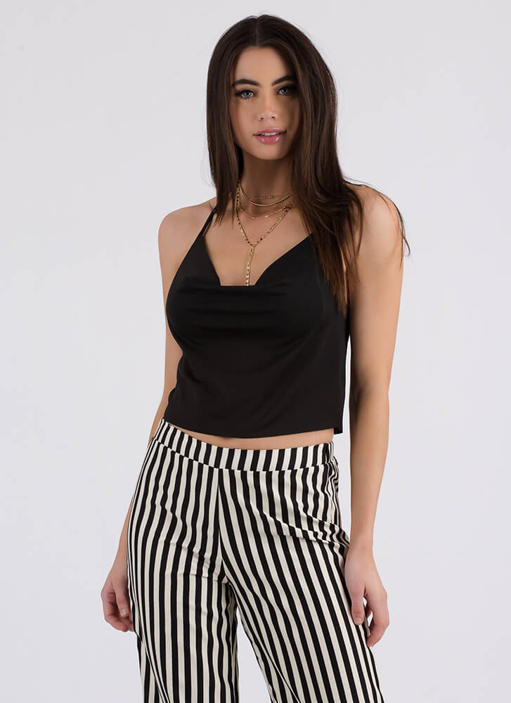 Cool Breeze Draped Cowl Halter Top BLACK