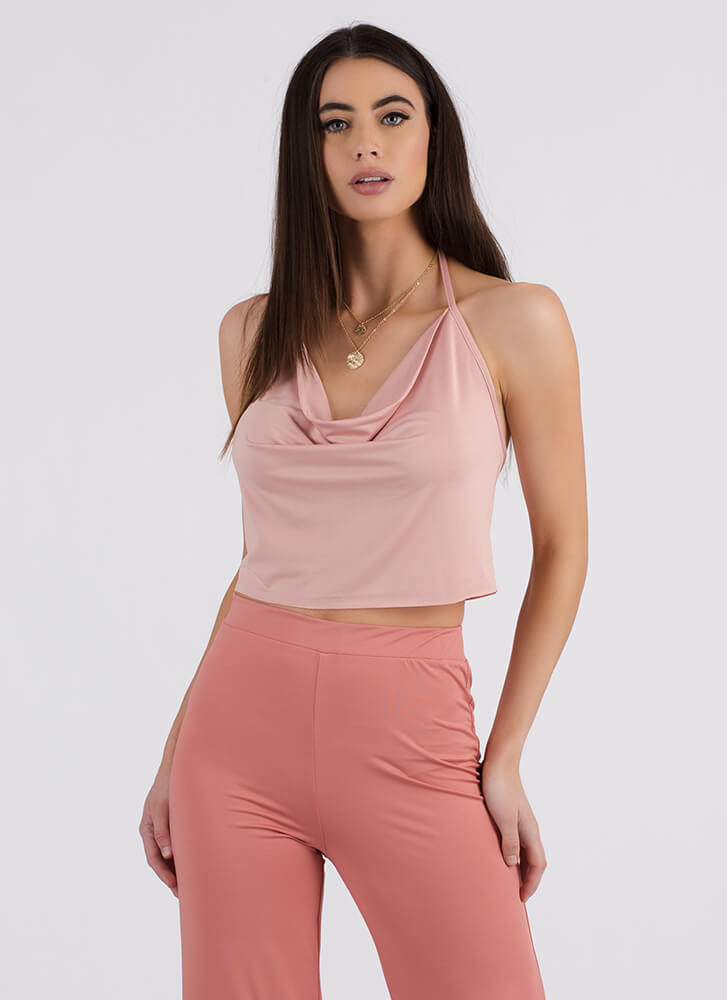 Cool Breeze Draped Cowl Halter Top DKPINK