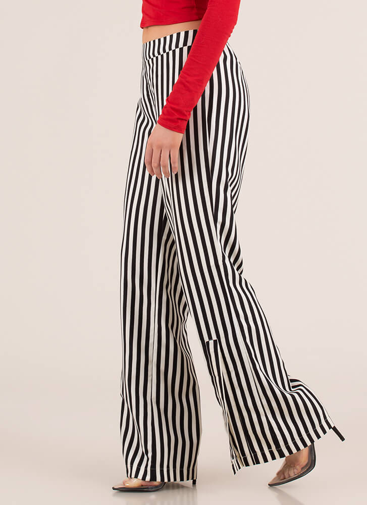 Stand And Deliver Striped Slit Pants BLACKCREAM (You Saved $11)