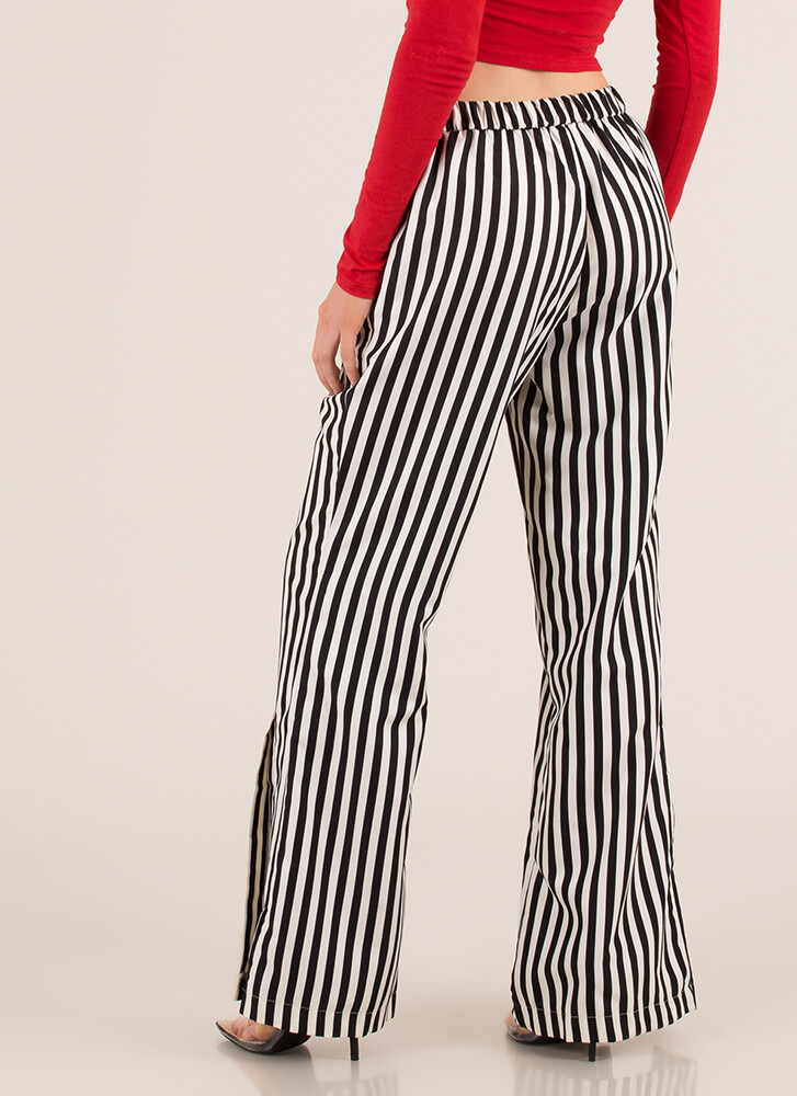 Stand And Deliver Striped Slit Pants BLACKCREAM
