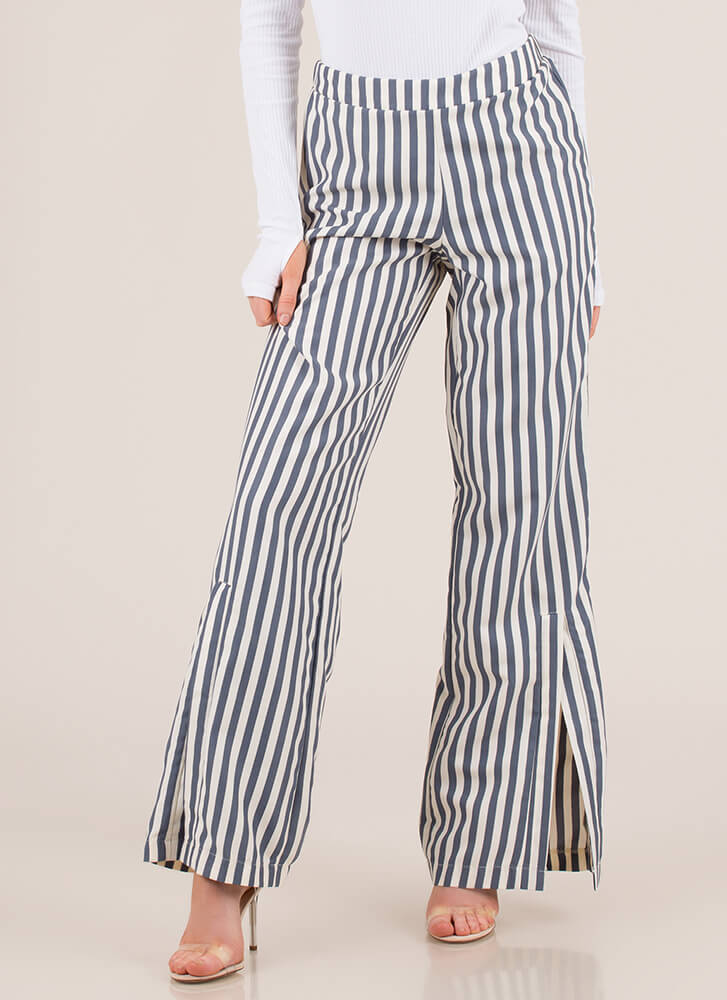 Stand And Deliver Striped Slit Pants BLUECREAM (You Saved $11)