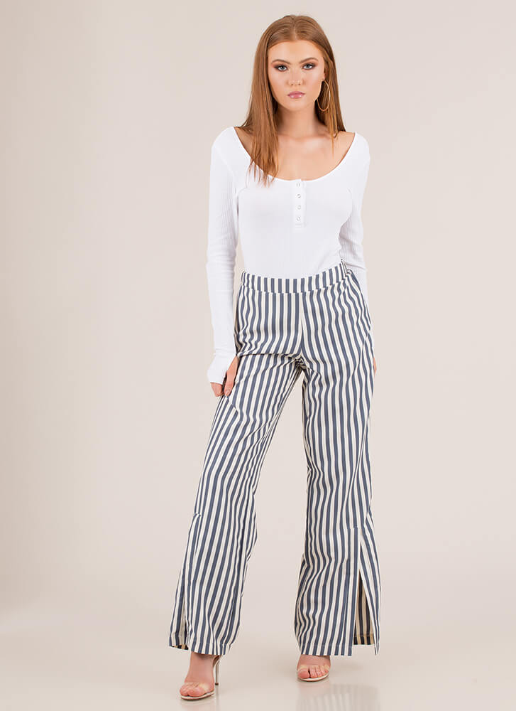 Stand And Deliver Striped Slit Pants BLUECREAM