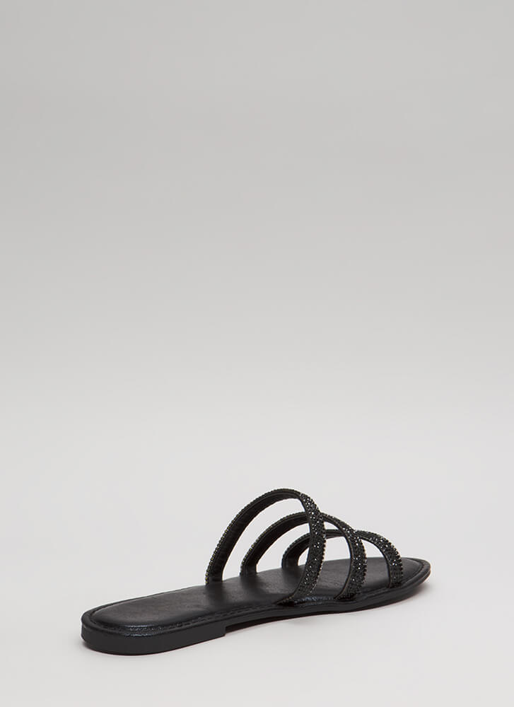 Three Hugger Strappy Jeweled Sandals BLACK (You Saved $12)