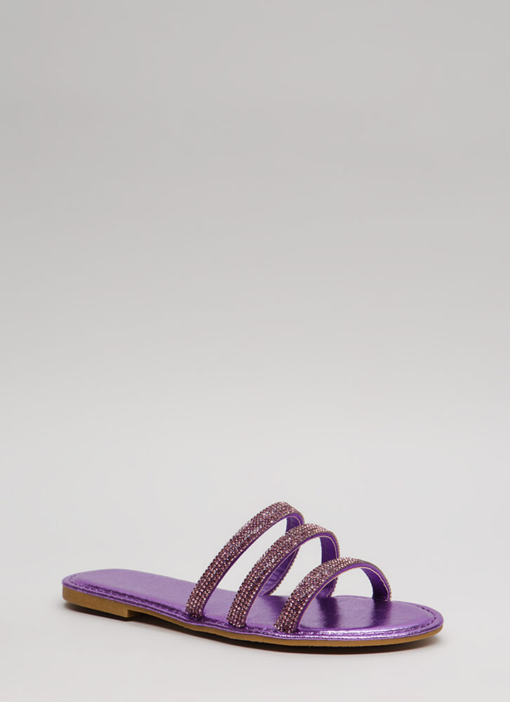 Three Hugger Strappy Jeweled Sandals PURPLE (Final Sale)