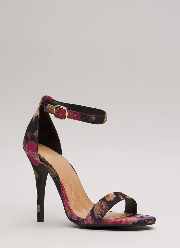 Fresh Prints Ankle Strap Stiletto Heels BLACKMULTI