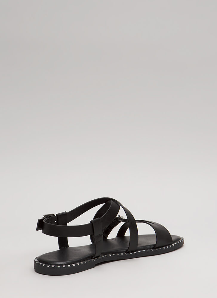 Lead The Way Strappy Buckled Sandals BLACK (You Saved $12)