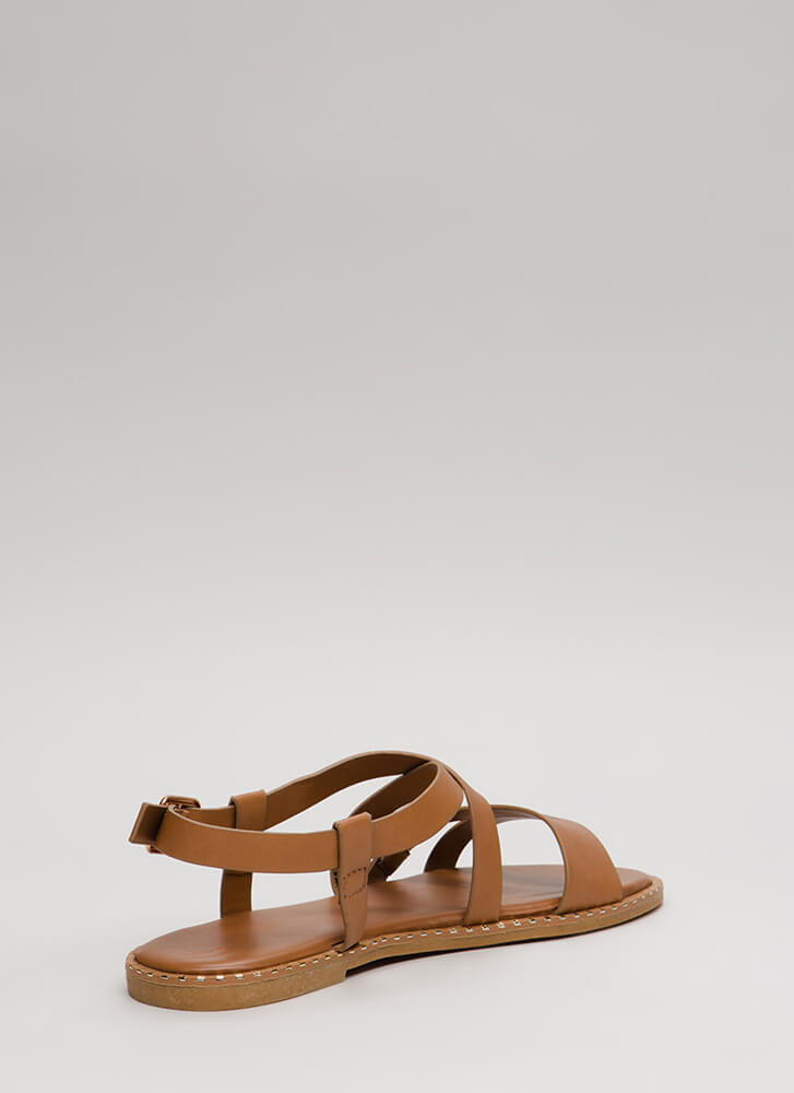 Lead The Way Strappy Buckled Sandals TAN (You Saved $12)
