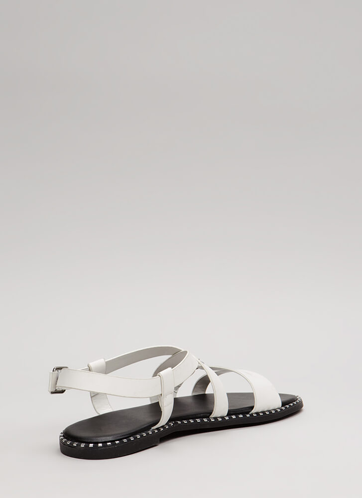 Lead The Way Strappy Buckled Sandals WHITE (You Saved $12)