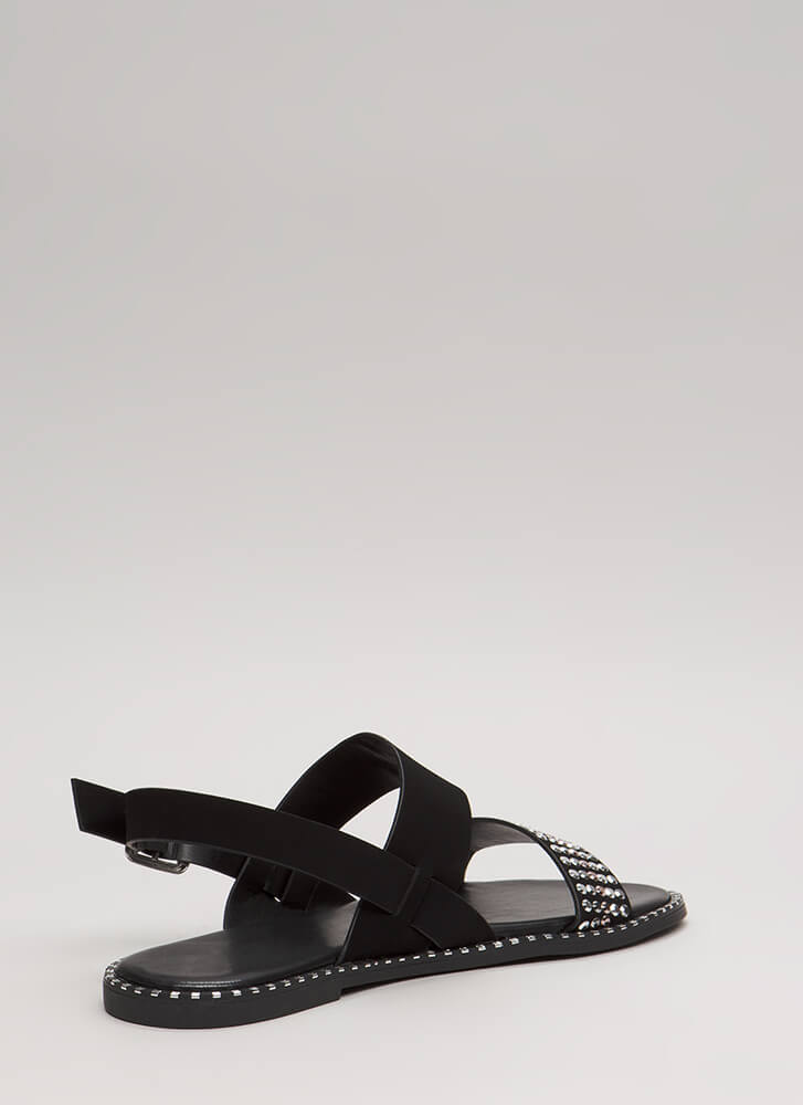Lead The Way Strappy Studded Sandals BLACK