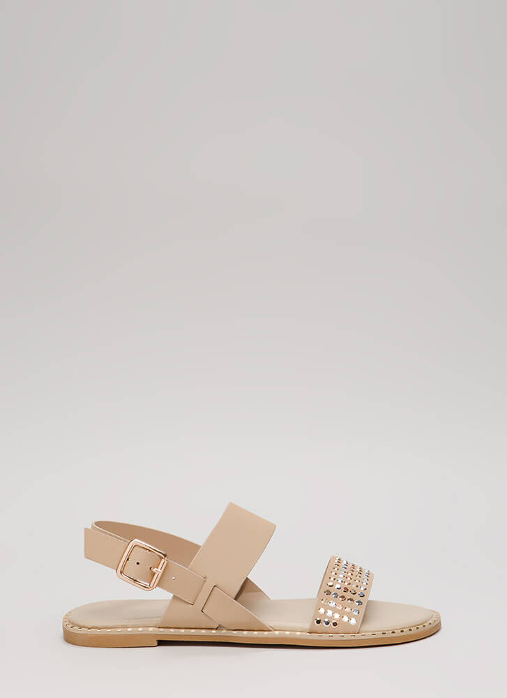 Lead The Way Strappy Studded Sandals NUDE