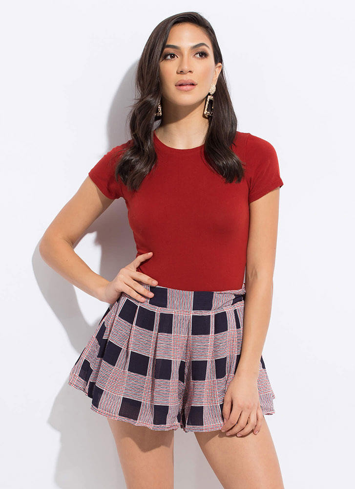 Check These Out Flared Plaid Shorts RED