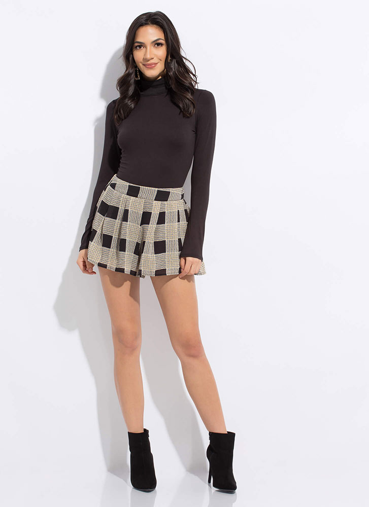 Check These Out Flared Plaid Shorts YELLOW