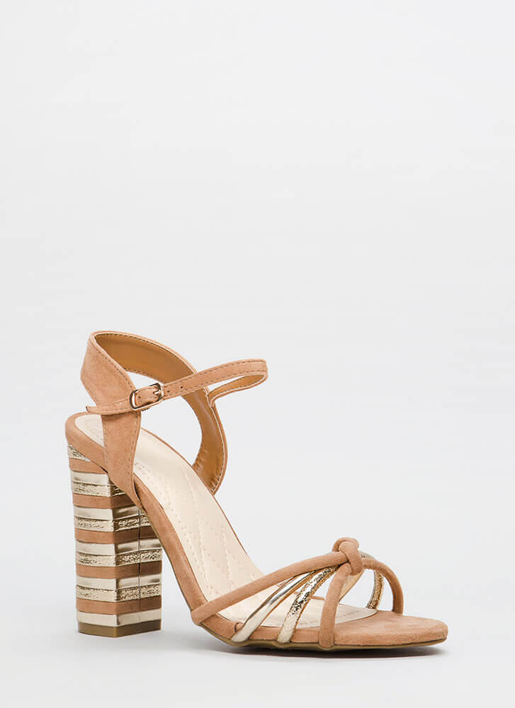 Chance Encounter Chunky Stacked Heels CAMEL
