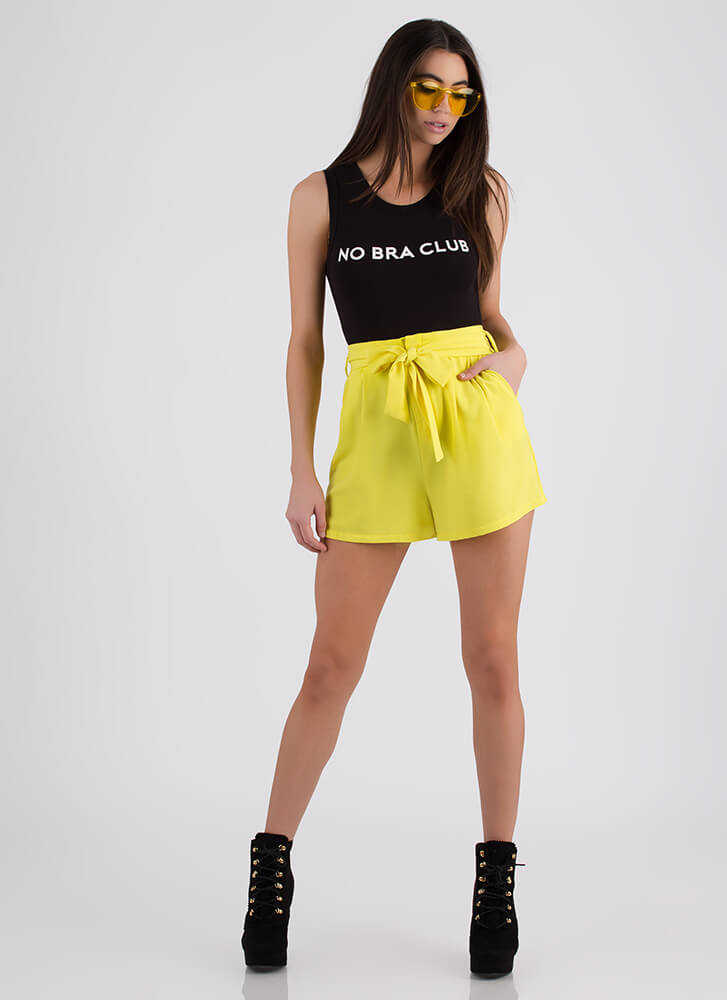 Make Your Play Tied Flared Shorts YELLOW (Final Sale)