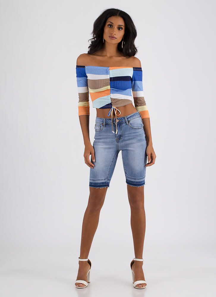 Let It All Out Denim Bermuda Shorts MEDBLUE (Final Sale)