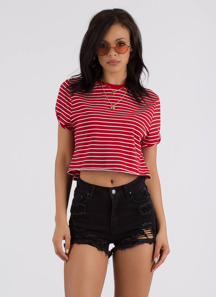 Get Back In Lines Striped Crop Top RED