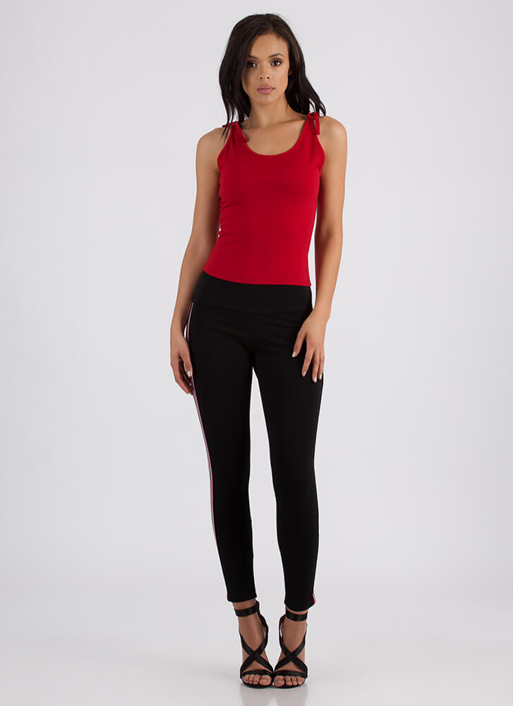 On Your Shoulders Tied Tank Top RED