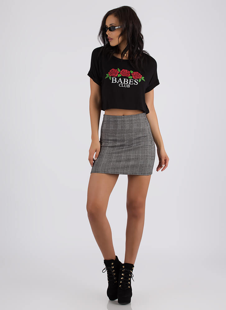 Babes Club Rose Graphic Crop Top BLACK