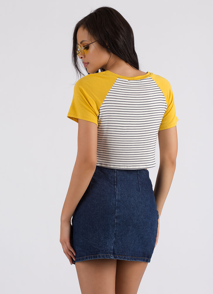 Jealous Of Me Too Striped Crop Top MUSTARD