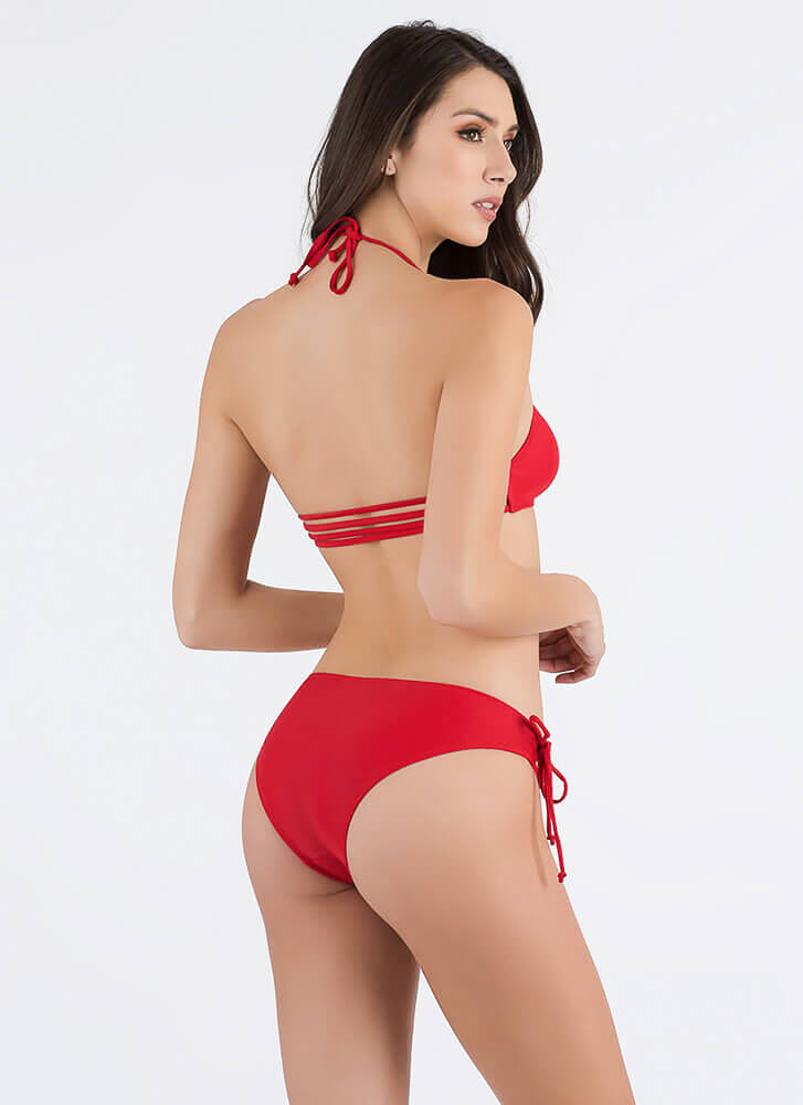 Pull Strings Strappy Lace-Up Bikini Set RED