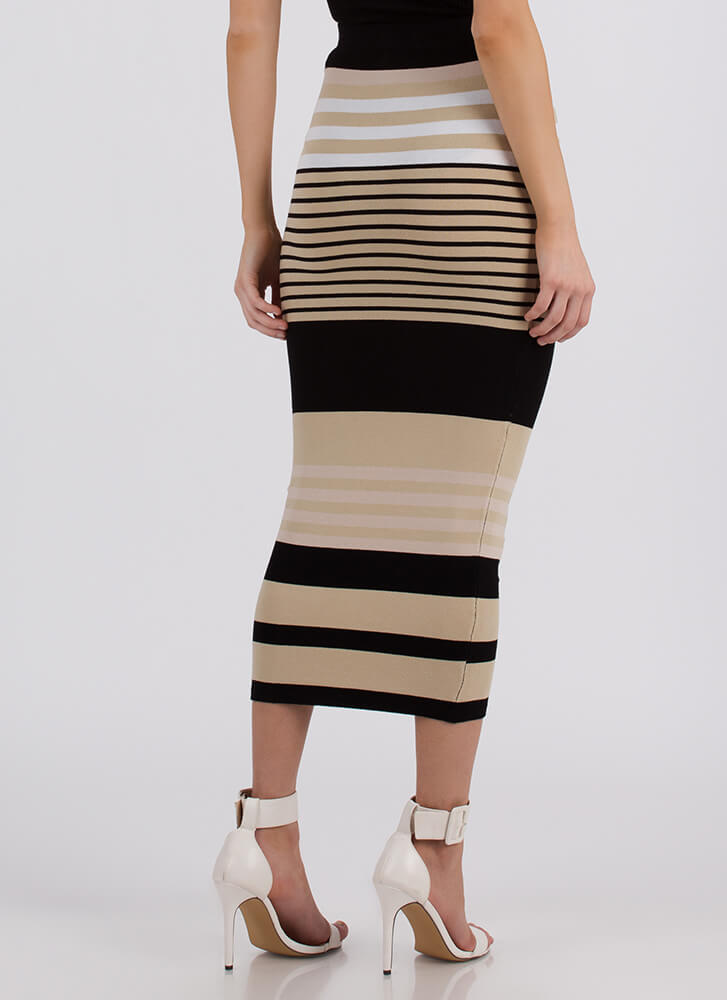 Win-Win Striped Knit Maxi Skirt TAUPE