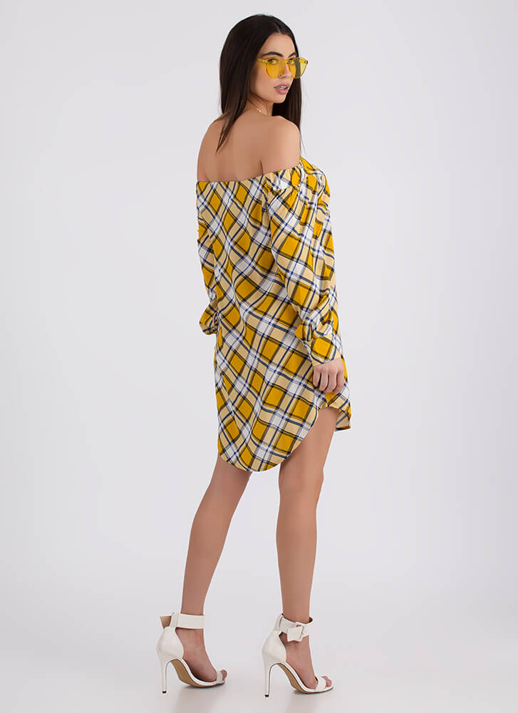 Plaid Pusher Off-Shoulder Shirt Dress YELLOW