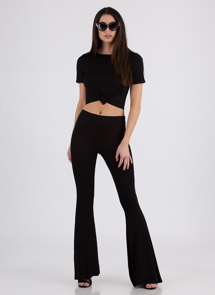 Knot Bad Crop Top And Bell-Bottoms Set BLACK
