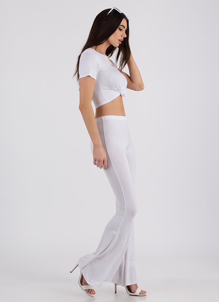 Knot Bad Crop Top And Bell-Bottoms Set WHITE