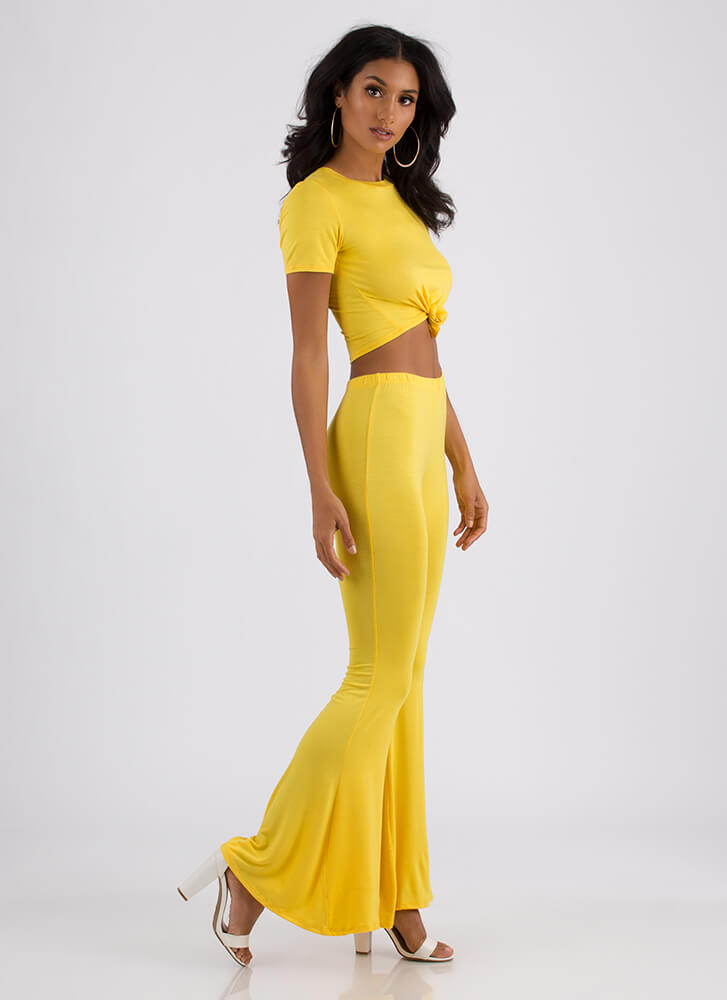 Knot Bad Crop Top And Bell-Bottoms Set YELLOW