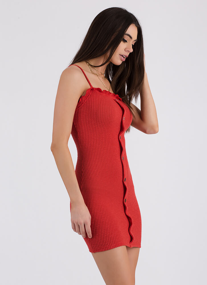 Hot Button Knit Lettuce Edge Dress RED