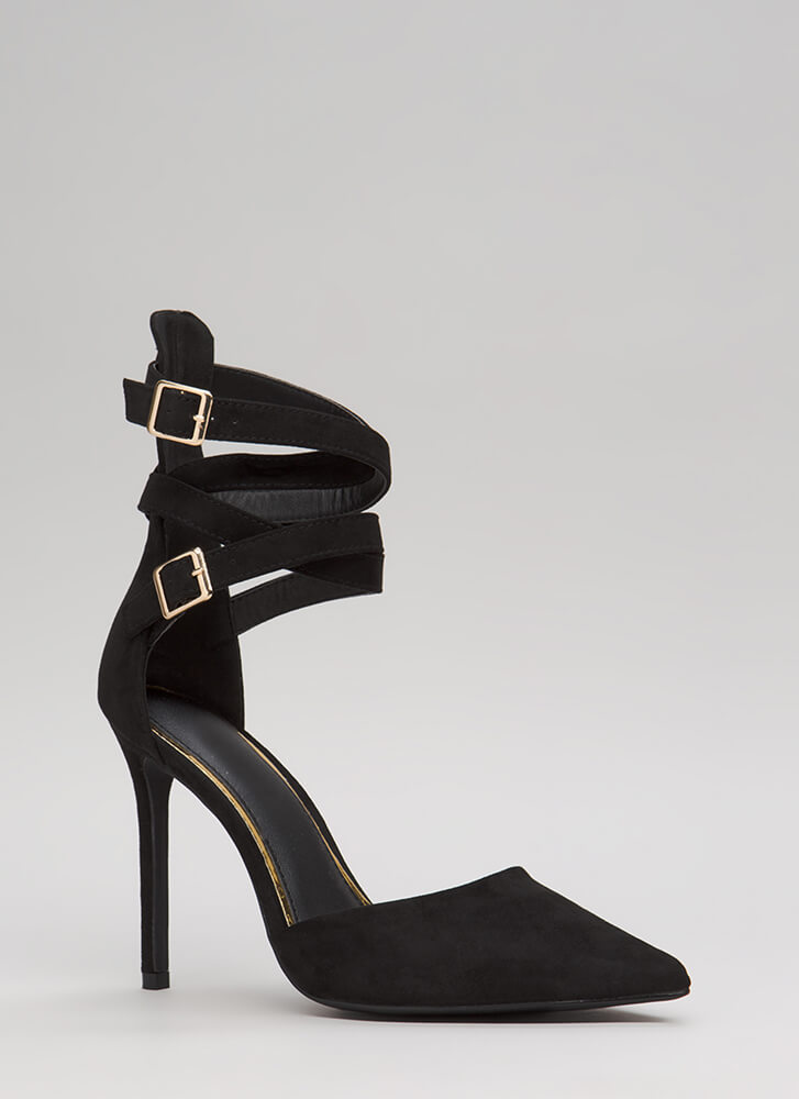 The Wrap-Up Pointy Faux Suede Heels BLACK