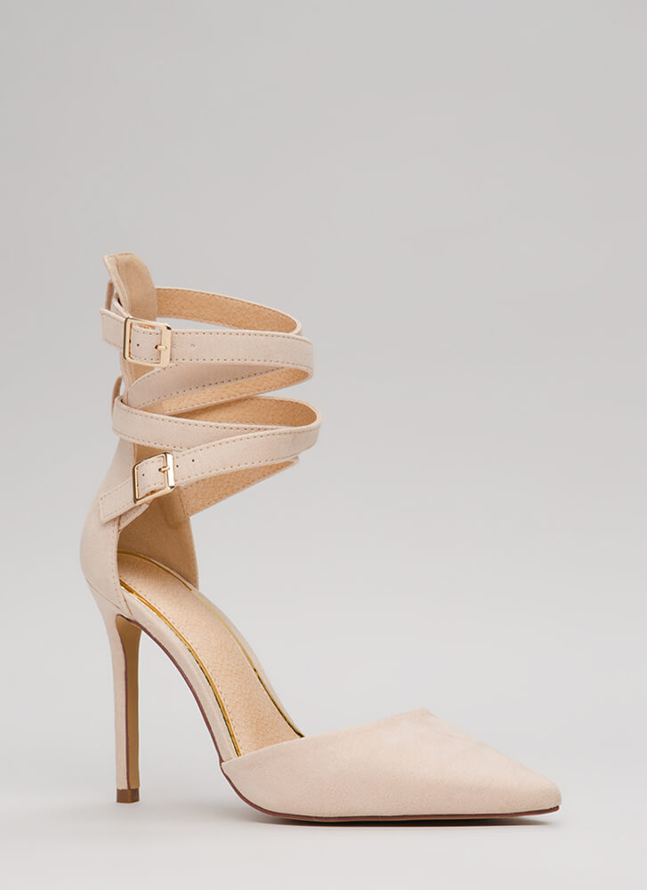The Wrap-Up Pointy Faux Suede Heels NUDE