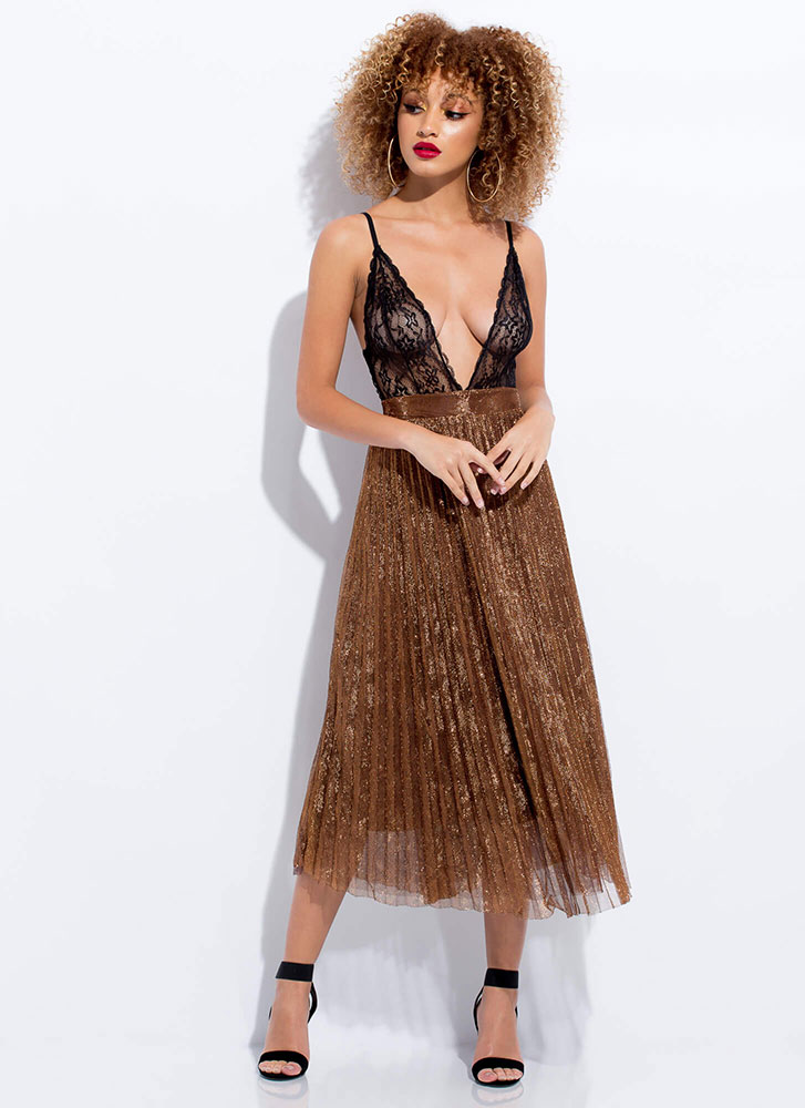 Sheer Beauty Plunging Lace Bodysuit BLACK (You Saved $16)