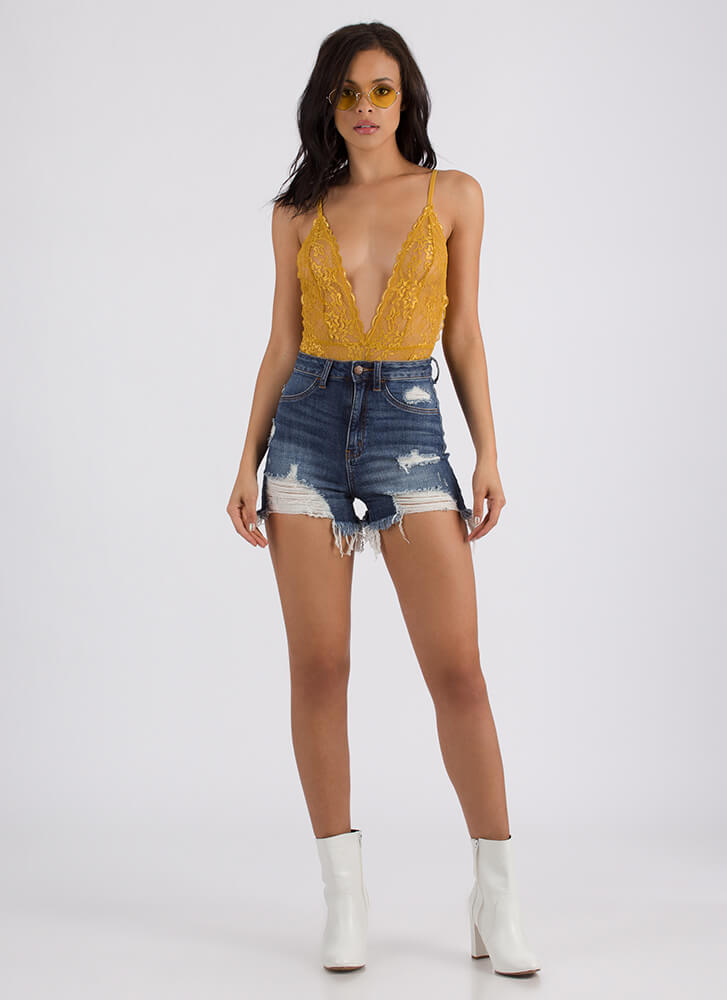 Sheer Beauty Plunging Lace Bodysuit MUSTARD (You Saved $16)