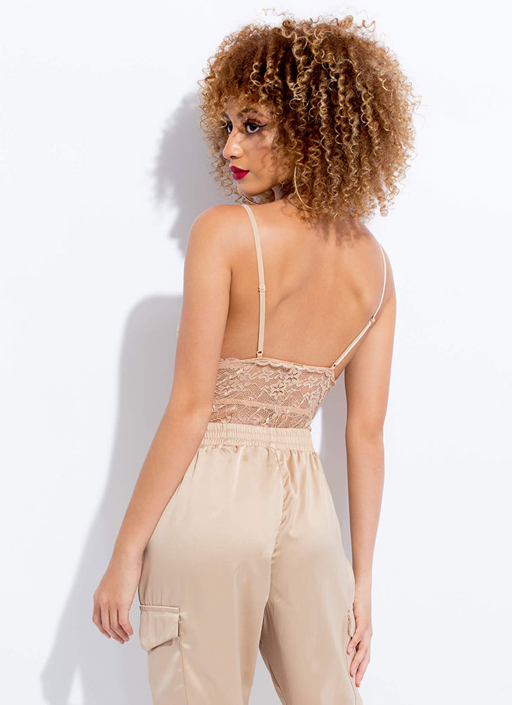 Sheer Beauty Plunging Lace Bodysuit NUDE (You Saved $16)