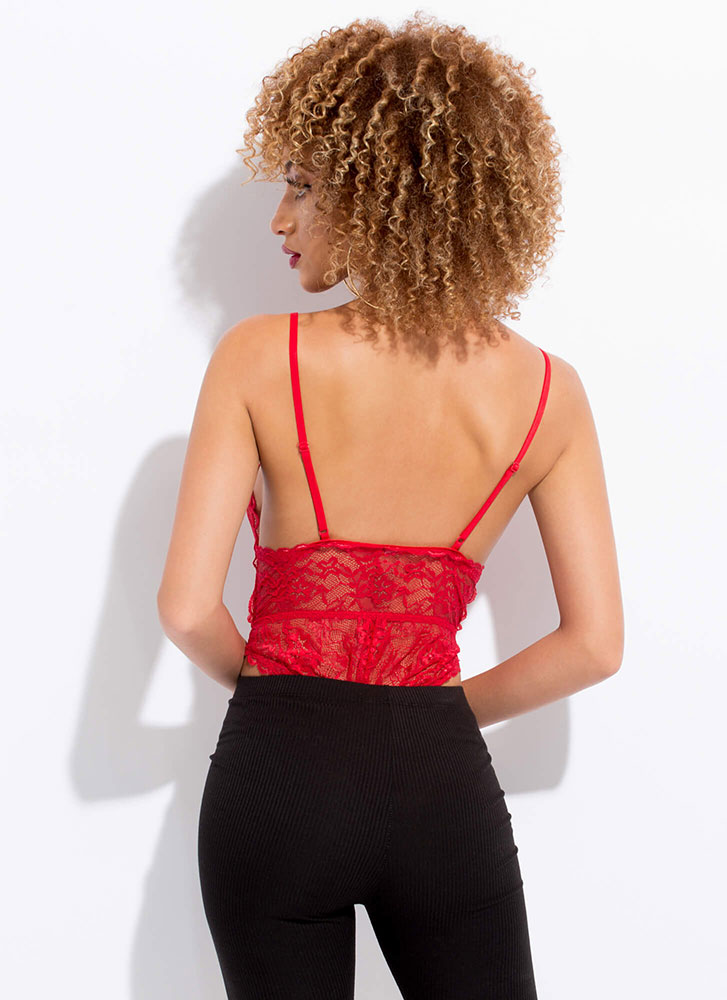 Sheer Beauty Plunging Lace Bodysuit RED (You Saved $16)