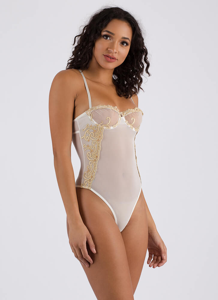 Make It Mesh Embroidered Thong Bodysuit WHITE