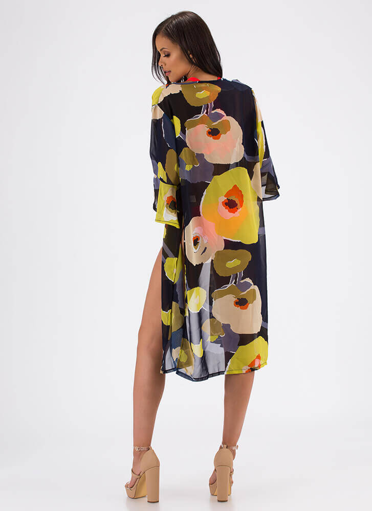 Water Lily Floral Swim Cover-Up NAVY