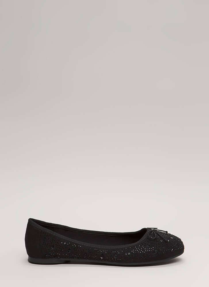 Twinkle Bows Jeweled Ballet Flats BLACK (Final Sale)