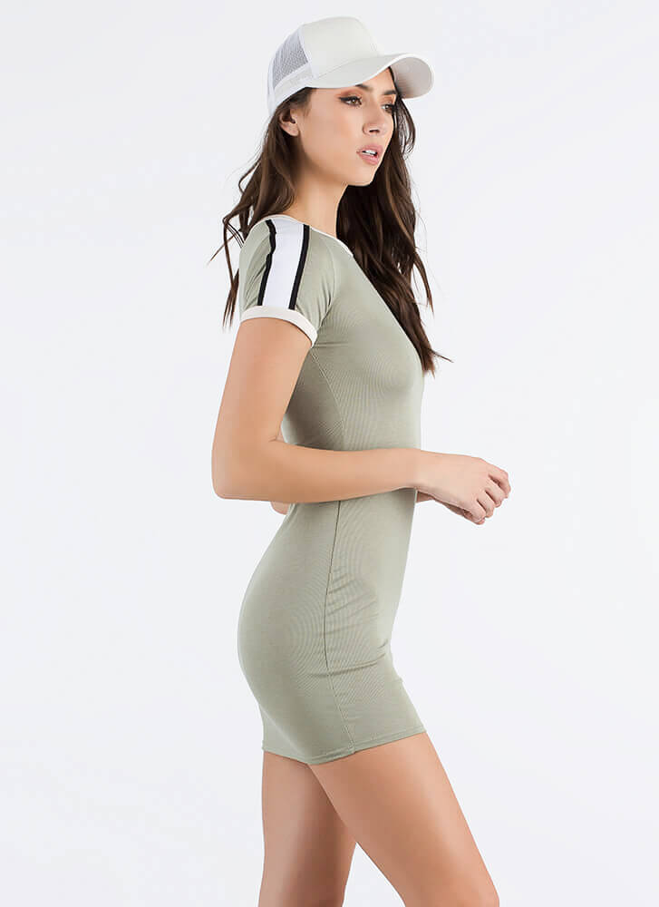We've Got A Ringer Striped Shirt Dress OLIVE