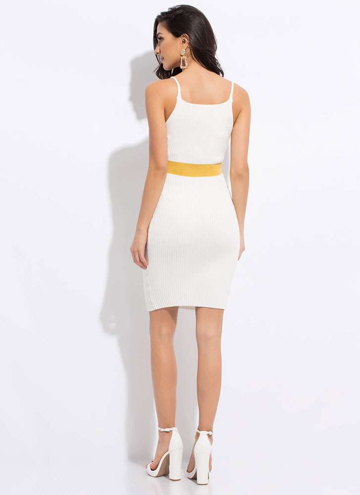 My Empire Striped Rib Knit Dress WHITE