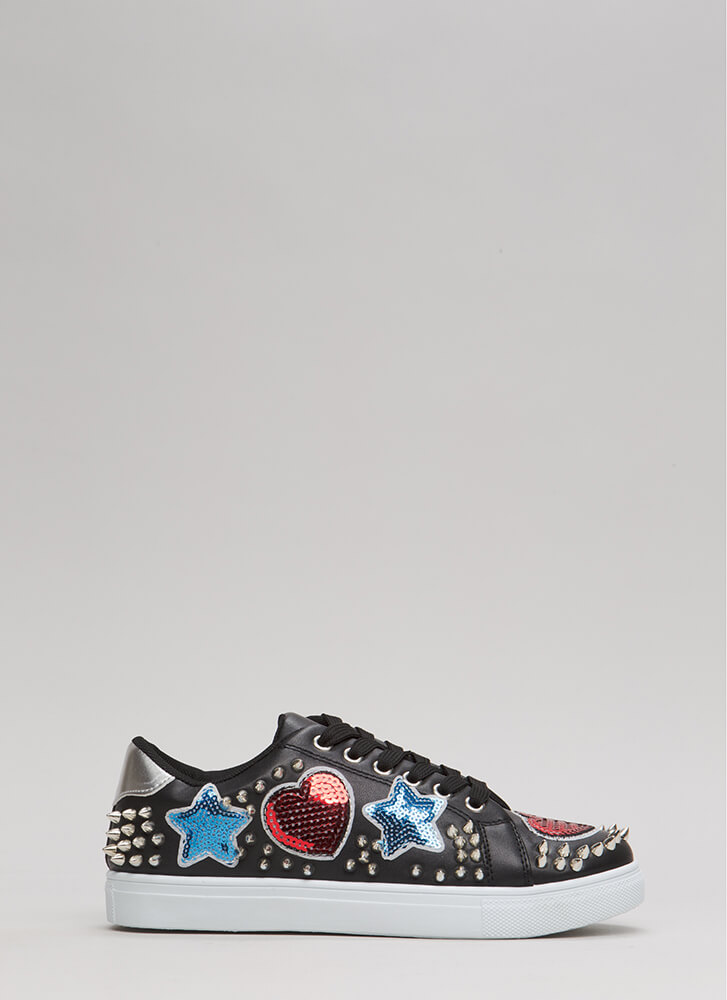 Perfect Patch Spiky Sequined Sneakers BLACK (Final Sale)