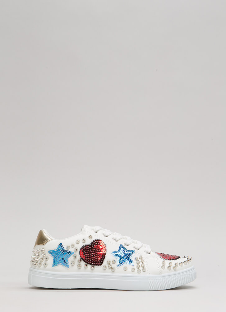Perfect Patch Spiky Sequined Sneakers WHITE