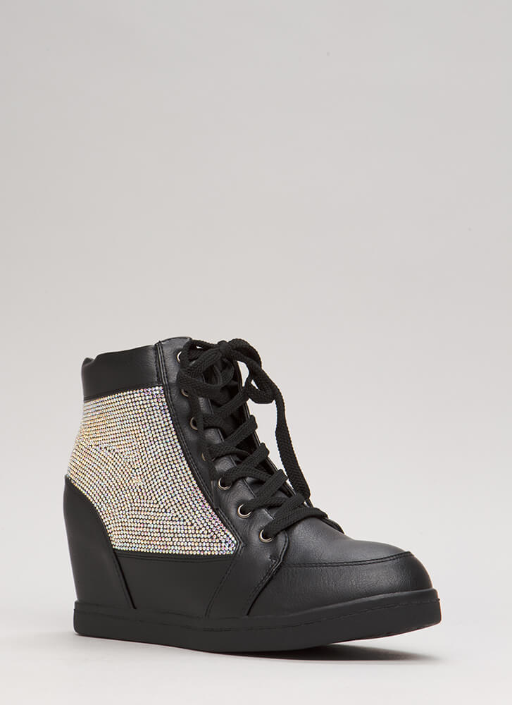 Sparkling Jewel Lace-Up Wedge Sneakers BLACK