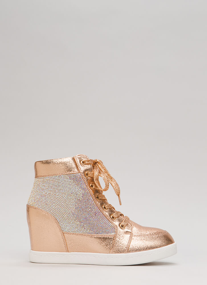 Sparkling Jewel Lace-Up Wedge Sneakers ROSEGOLD (Final Sale)
