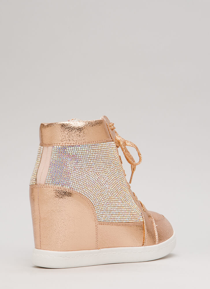Sparkling Jewel Lace-Up Wedge Sneakers ROSEGOLD